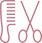 Graphic of comb and scissors
