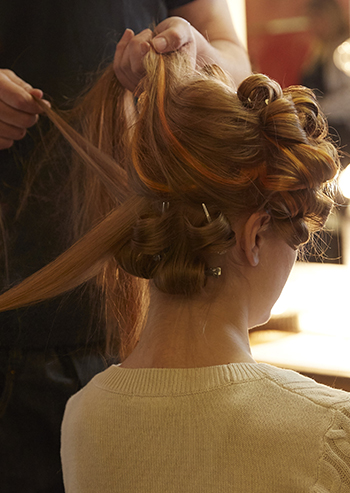 Woman getting an updo