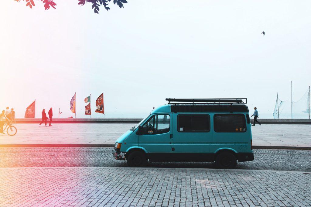 a van ready to go on vacay on the beach