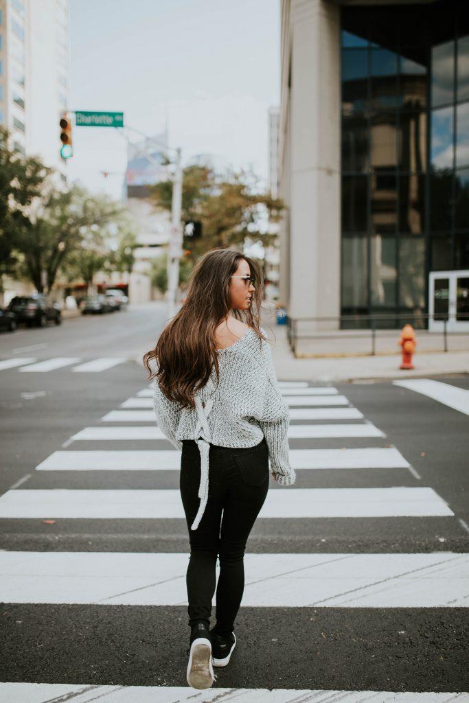 Girl walking down the street