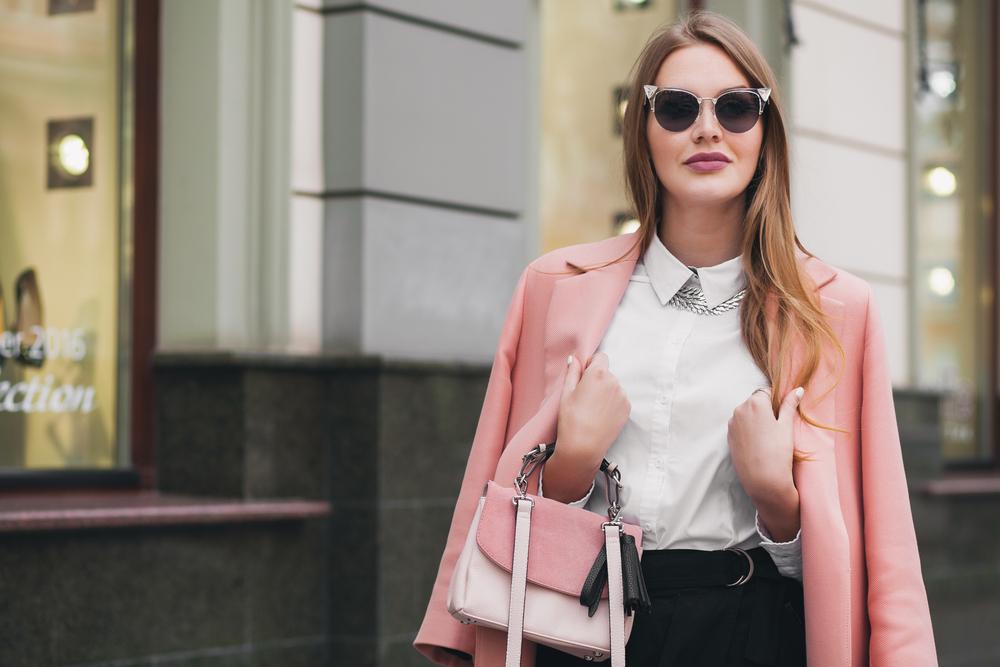 Lady with pink blazer