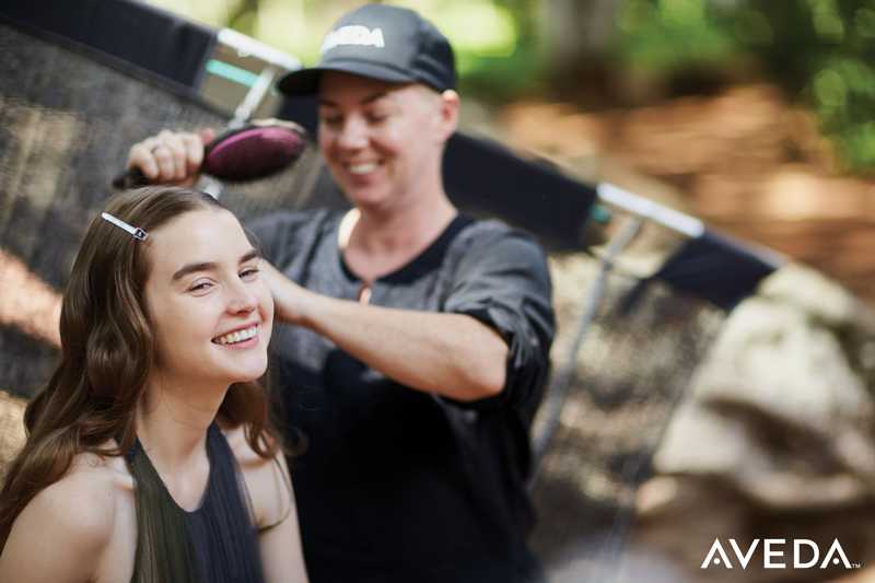 aveda editorial stylist in action