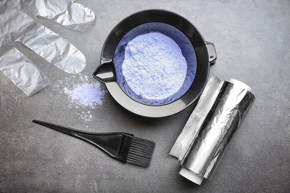 hair coloring tools: glove, brush, bowl, foil