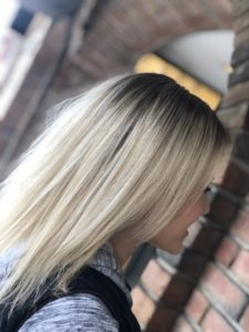 close up of blonde hair colored by Nicole S