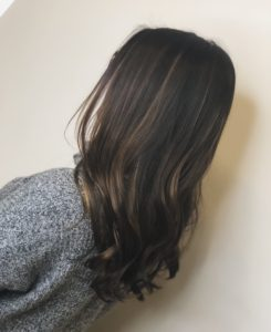 closeup of brown balayage done by Nicole S