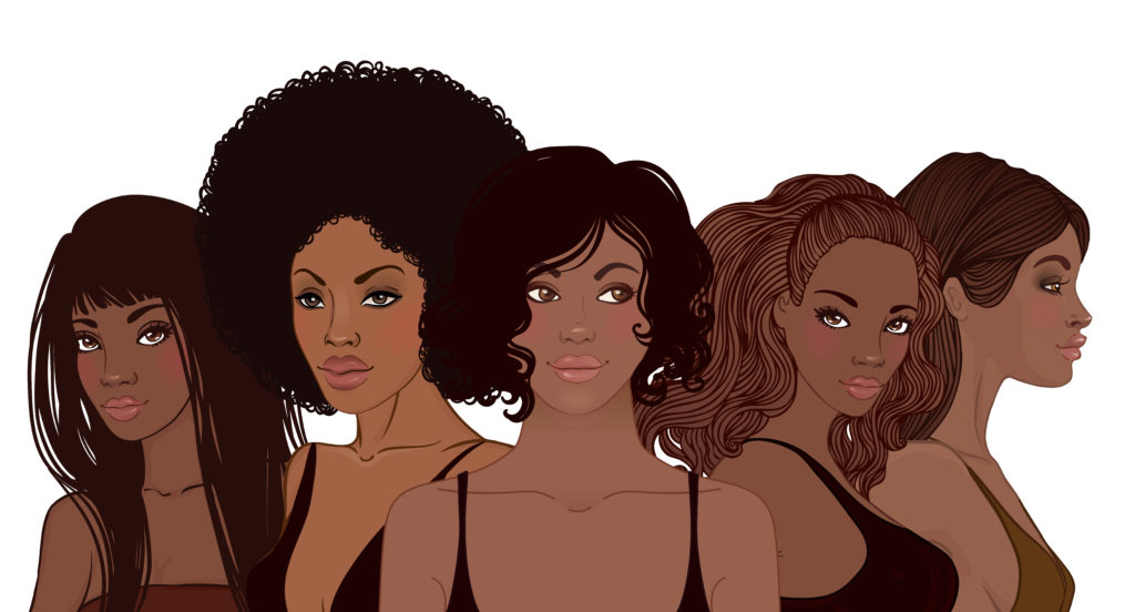 cartoon image of five black women with different types of natural hair