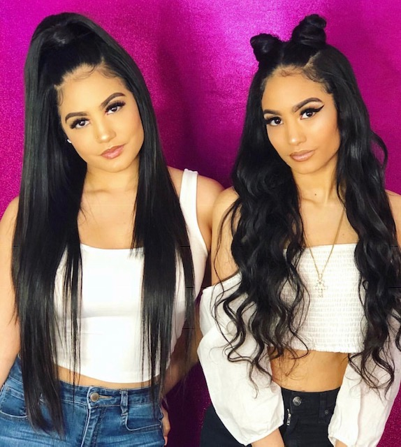 Kaleah's work: Two women wearing long black hair extensions.