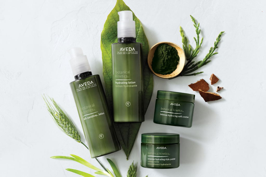 flat lay of Aveda skin care products