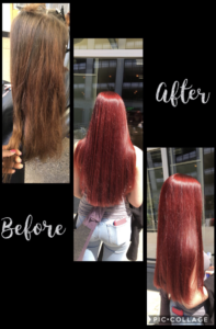 before and after pics of hair transformation to bright red hair