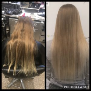 before and after pic of blonde/brown hair being colored and styled