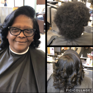 before and after pics of middle-aged african american woman getting her hair done and smiling