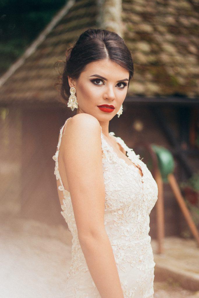 Girl in beautiful formal dress.