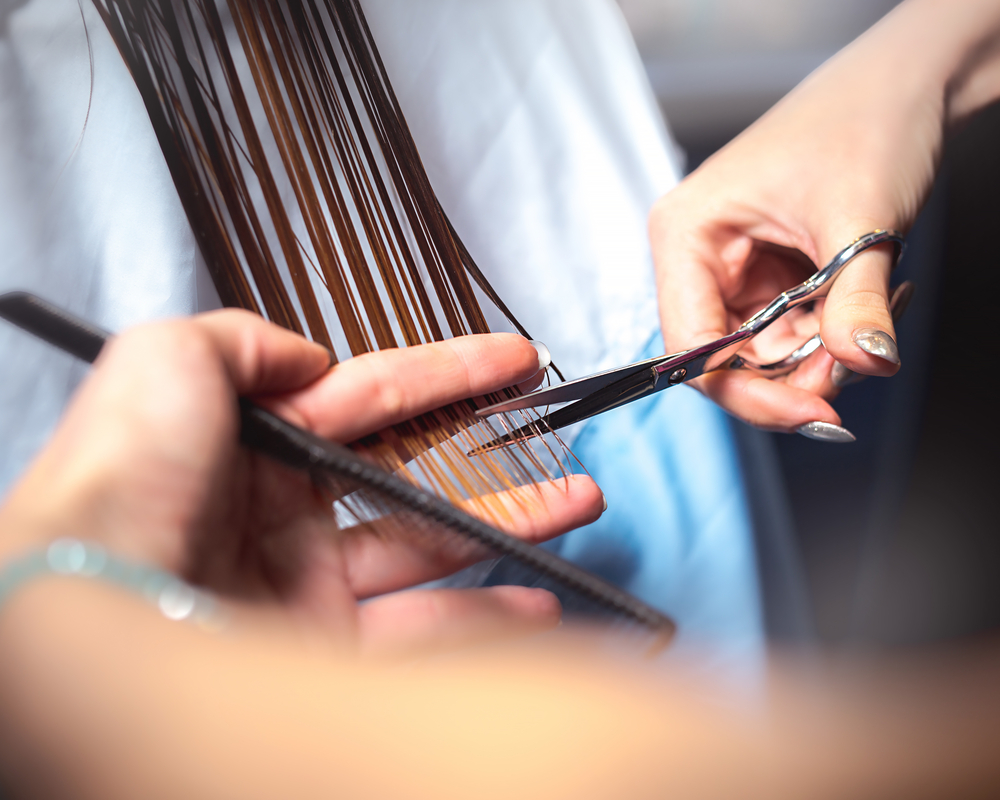 Long dark hair being trimmed by a stylist