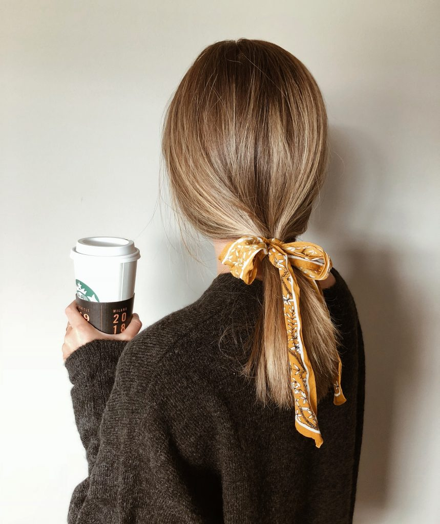 ponytail-with-hair-ribbon-tied-in-a-bow